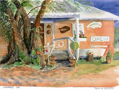 Nauti Nell's store in Deltaville, VA, watercolor by Judith Woodbury of Ogunquit, Maine